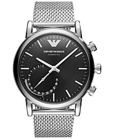 Emporio Armani Men's Connected Stainless Steel Mesh Bracelet Hybrid Smart Watch 43mm