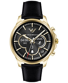 Emporio Armani Men's Connected Black Leather Strap Touchscreen Smart Watch 46mm