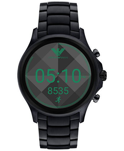 emporio armani mens connected black stainless steel