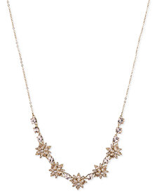 Marchesa Gold-Tone Crystal & Imitation Pearl Flower Collar Necklace