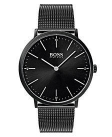 BOSS Hugo Boss Men's Horizon Black Stainless Steel Mesh Bracelet Watch 40mm
