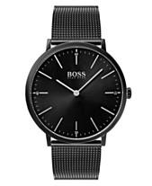 c337596248b8a8 BOSS Hugo Boss Men's Horizon Black Stainless Steel Mesh Bracelet Watch 40mm
