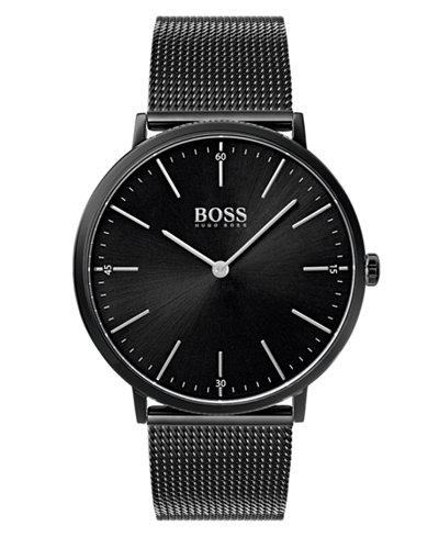 Boss Hugo Boss Men S Horizon Black Stainless Steel Mesh