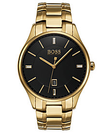 BOSS Hugo Boss Men's Governor Gold-Tone Stainless Steel Bracelet Watch 44mm