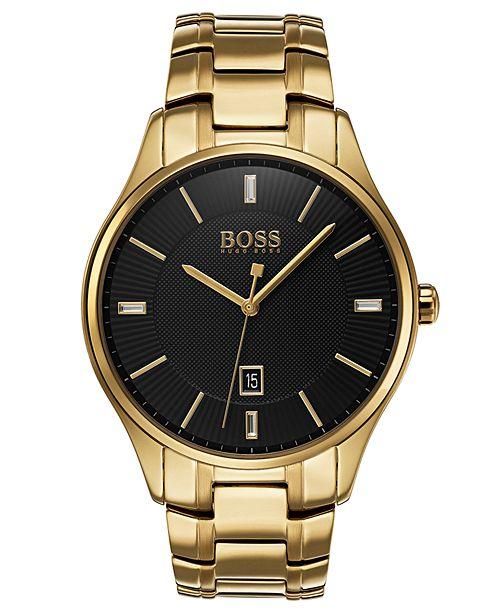 BOSS Hugo Boss Men's Governor Gold-Tone Stainless Steel Bracelet Watch 44mm