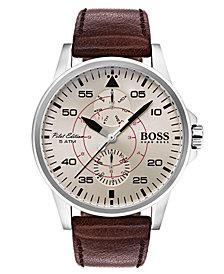 BOSS Hugo Boss Men's Aviator Brown Leather Strap Watch 44mm