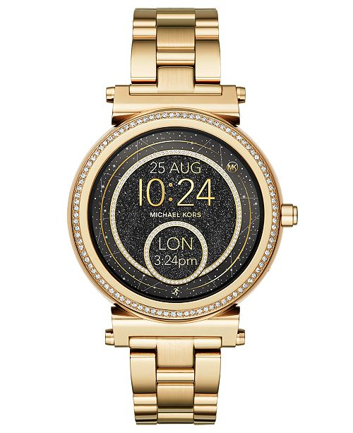 99256cd8aa6 ... Michael Kors Access Women s Sofie Gold-Tone Stainless Steel Bracelet  Touchscreen Smart Watch ...