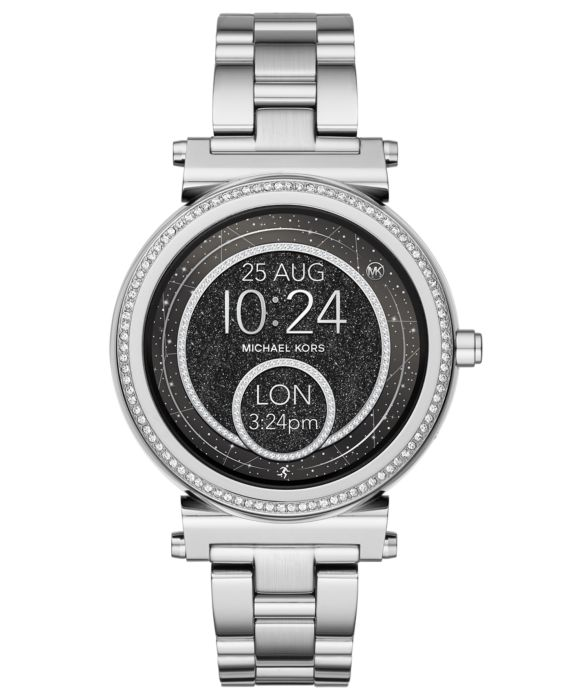 Michael Kors Access Sofie - 42 mm - silver-tone - smart watch with link bracelet - display 1.19u0022 - 4 GB - Bluetooth 4.1 LE