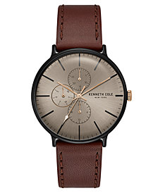 Kenneth Cole New York Men's Brown Leather Strap Watch 41mm