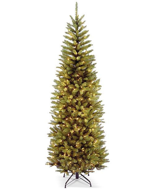 National Tree Company 7.5' Kingswood Fir Hinged Pencil Tree With 350 Clear Lights