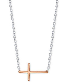 Unwritten East West Cross Pendant Necklace in Sterling Silver & Rose Gold Flashed Sterling Silver