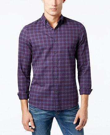 Michael Kors Men's Slim-Fit Check Print Flannel Shirt - Casual ...