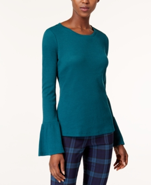 Maison Jules Bell-Sleeve Thermal-Knit Top, Created for Macy's