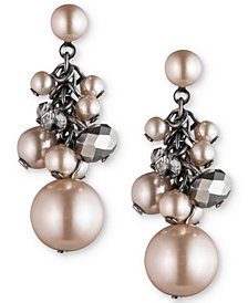 Carolee Hematite-Tone Shaky Bead Drop Earrings