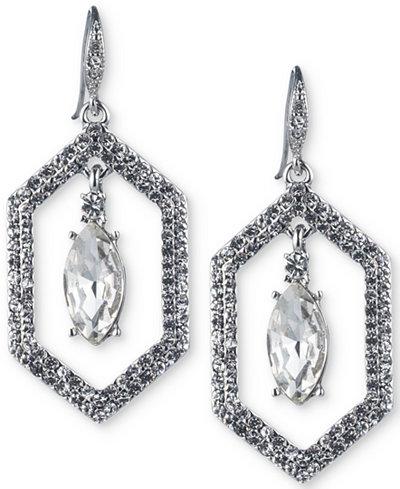 Carolee Silver-Tone Crystal Openwork Drop Earrings