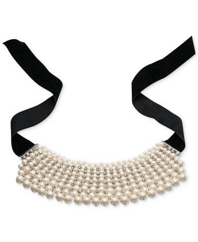 Carolee Silver-Tone Multi-Row Imitation Pearl Choker Necklace