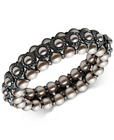 Carolee Hematite-Tone Imitation Pearl & Pavé Bangle Bracelet