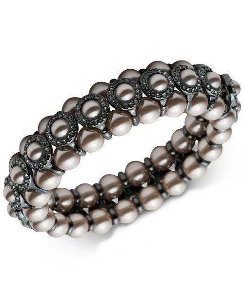 Carolee Hematite-Tone Imitation Pearl & Pavé Bangle Bracelet