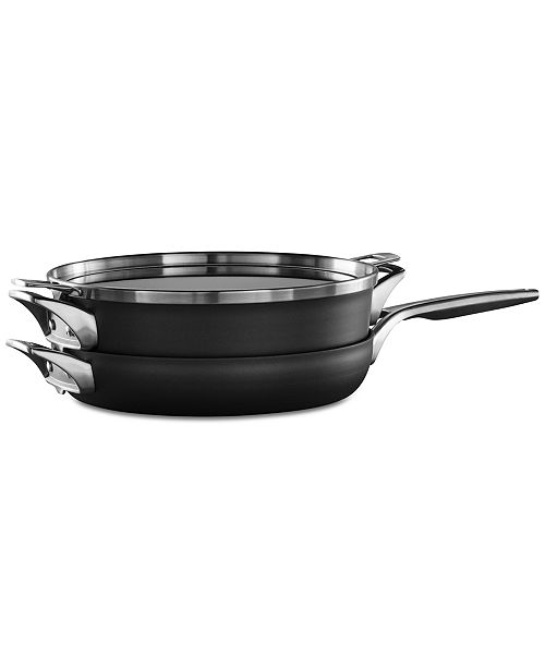 "Calphalon Premier 3-Pc. Space Saving Hard-Anodized Non-Stick 12"" Stack Cookware Set"