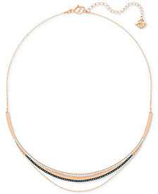 Swarovski Rose Gold-Tone Multi-Layer Pavé Collar Necklace