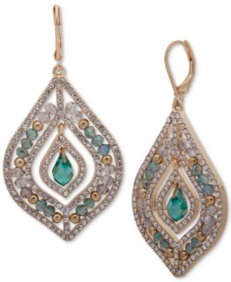 lonna & lilly Gold-Tone Green Stone Beaded Chandelier Earrings