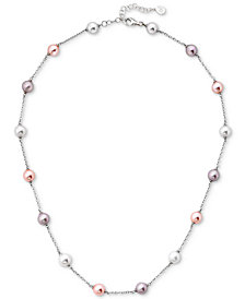 Majorica Sterling Silver Imitation Pearl Statement Necklace