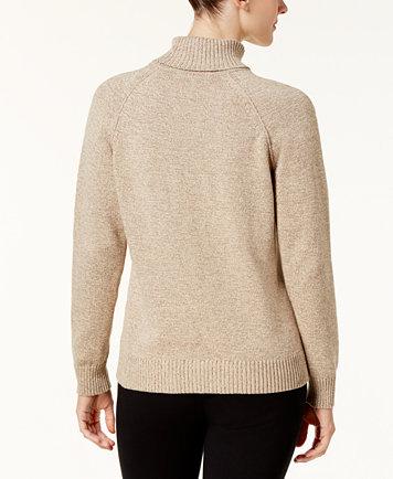 Karen Scott Petite Cotton Turtleneck Sweater, Created for Macy's ...