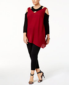 Love Scarlett Plus Size Cutout Colorblocked Cold-Shoulder Top
