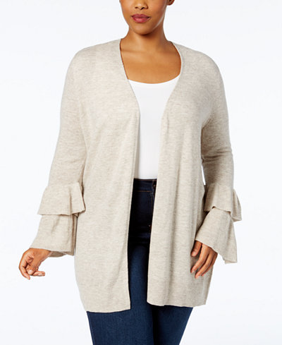 Anna Sui Loves I.N.C. Plus Size Bell-Sleeve Duster Cardigan, Created for Macy's