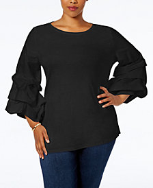 I.N.C. Plus Size Tiered Ruffle-Sleeve Top, Created for Macy's