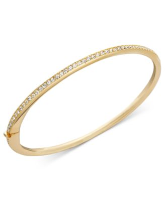 Bracelet, Gold-Tone Thin Crystal Bangle