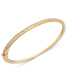 Danori Bracelet, Gold-Tone Thin Crystal Bangle