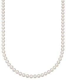 "Belle de Mer Pearl Necklace, 16"" 14k Gold AA Akoya Cultured Pearl Strand (7-7-1/2mm)"