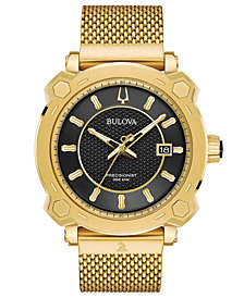 Bulova Men's Precisionist GRAMMY® Gold-Tone Stainless Steel Mesh Bracelet Watch 44mm