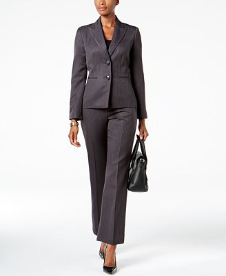 Le Suit Striped Two Button Pantsuit Wear To Work Women Macy S