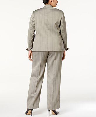 Le Suit Plus Size Two Button Herringbone Pantsuit Wear To Work