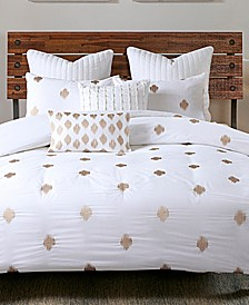 Stella Cotton Percale 3-Pc. Embroidered-Dot Full/Queen Duvet Cover Mini Set