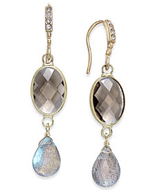 Paul & Pitü Naturally Gold-Tone Faceted Stone Drop Earrings
