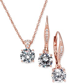 Cubic Zirconia Solitaire Pendant Necklace and Matching Drop Earrings Set, Created for Macy's