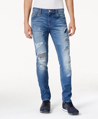 Armani Exchange Men's Slim-Fit Stretch Ripped & Repaired Jeans