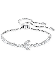 Swarovski Silver-Tone Crystal Moon Slider Bracelet