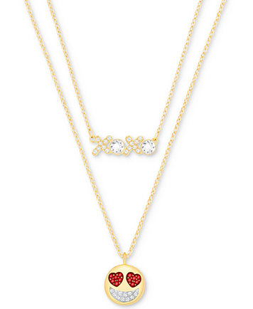 Swarovski gold tone 2 pc set clear red crystal pendant necklaces swarovski gold tone 2 pc set clear red crystal pendant necklaces fashion jewelry jewelry watches macys aloadofball Image collections