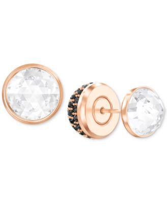 Swarovski Rose GoldTone Pav Crystal Front Back Earrings