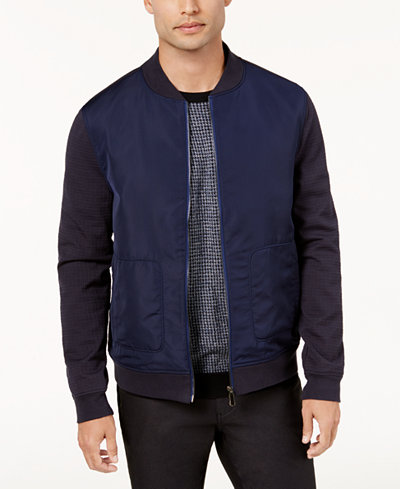 Ryan Seacrest Distinction™ Men's Modern-Fit Stretch Mixed Media Bomber Jacket, Created for Macy's