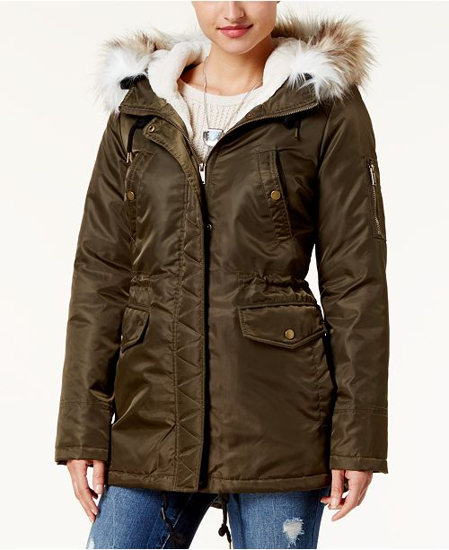 Juniors' Faux-Fur-Trim Hooded  Parka, Created for Macy's