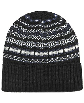 Club Room Men's Fair Isle Hat, Created for Macy's - Hats, Gloves ...