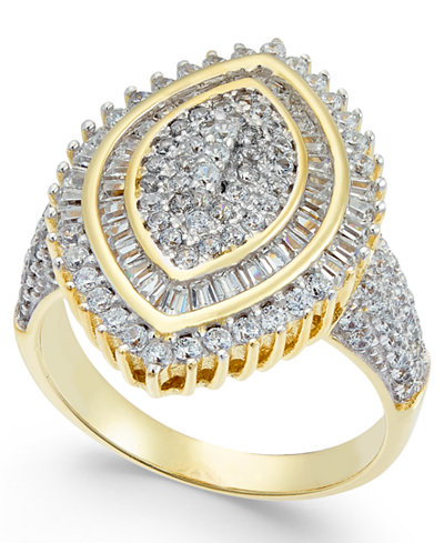 Cubic Zirconia Marquise Cluster Ring in 14k Gold-Plated Sterling Silver