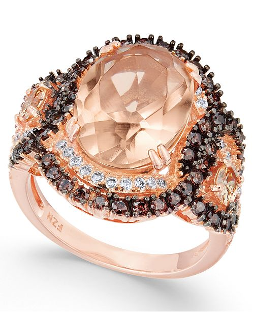 Macy's Simulated Morganite & Cubic Zirconia Ring in 14k Rose Gold-Plated Sterling Silver