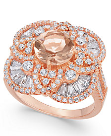 Simulated Morganite & Cubic Zirconia Filigree Floral Ring in 14k Rose Gold-Plated Sterling Silver