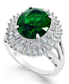 Simulated Emerald & Cubic Zirconia Double Halo Ring in Sterling Silver